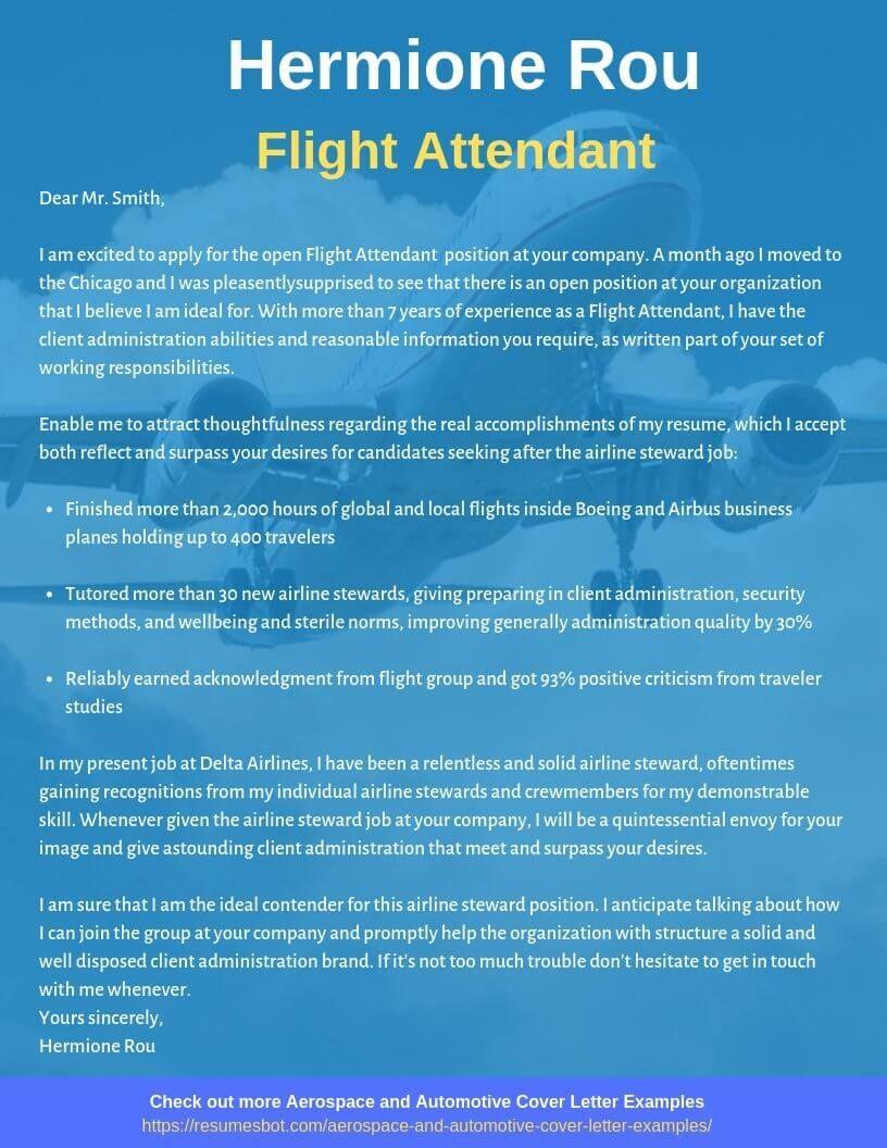 Flight attendant cover letter samples templates pdf