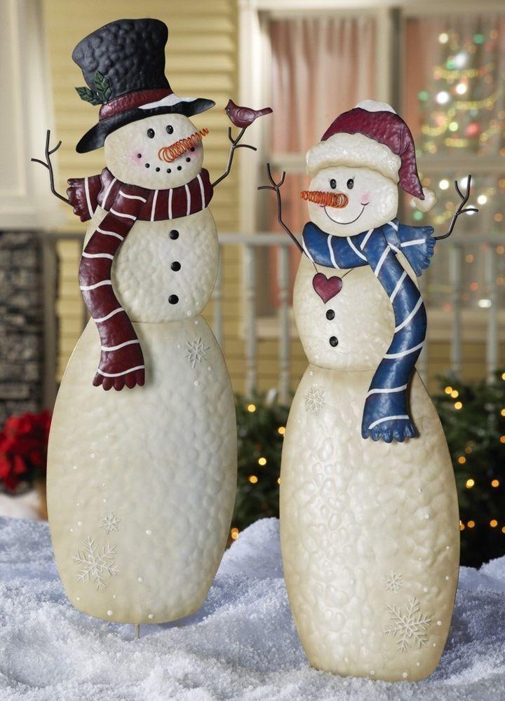 Christmas Décor Outdoor Mr  Mrs Snowmen Decorations Metal Stakes - outdoor snowman christmas decorations