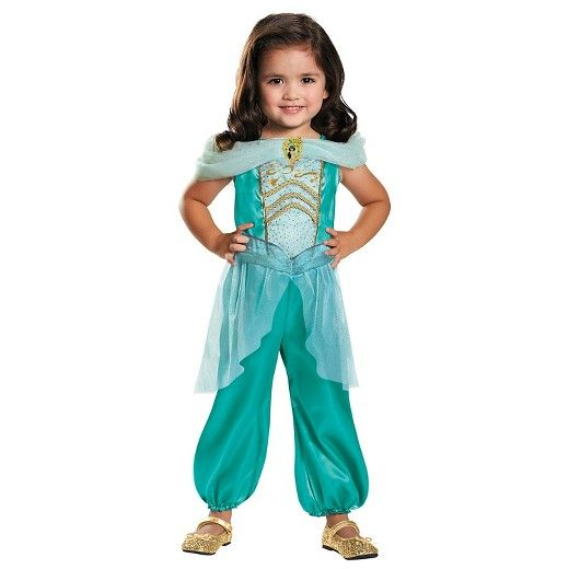 This costume includes a jumpsuit with a Jasmine embellishment and attached peplum. Does not include shoes. This is an officially licensed Disney Aladdin costume.