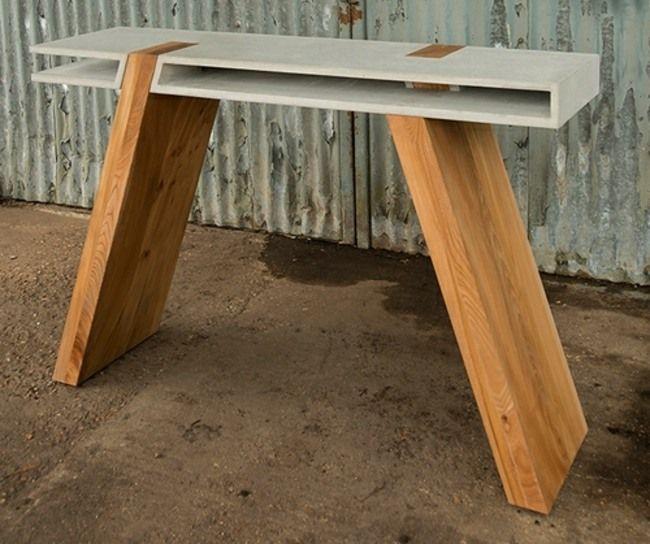 Esstisch Design Holz Beton Stellfläche originell Designer Möbel ...