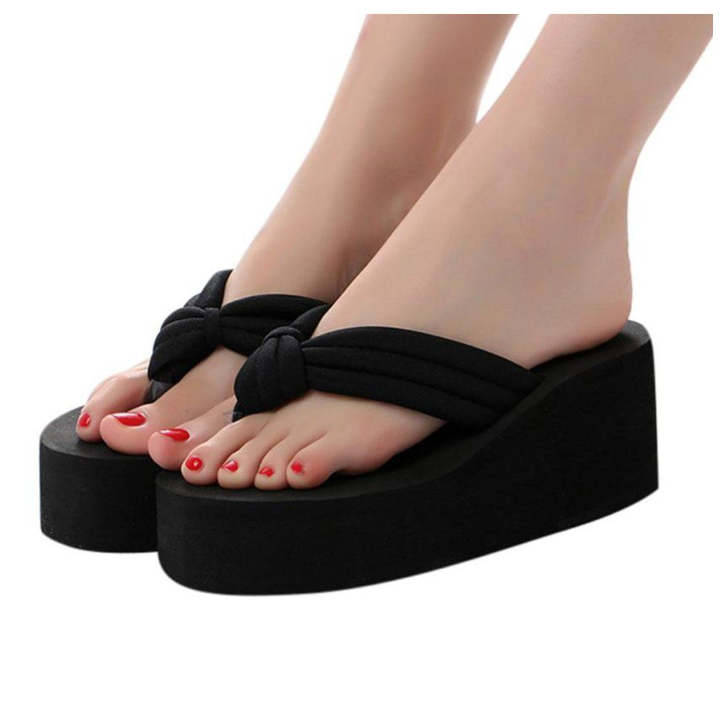 80a31937c Inkach Womens Flip-Flops    Fashion Summer Chunky Heeled Wedge Sandals  Thong Slippers Beach