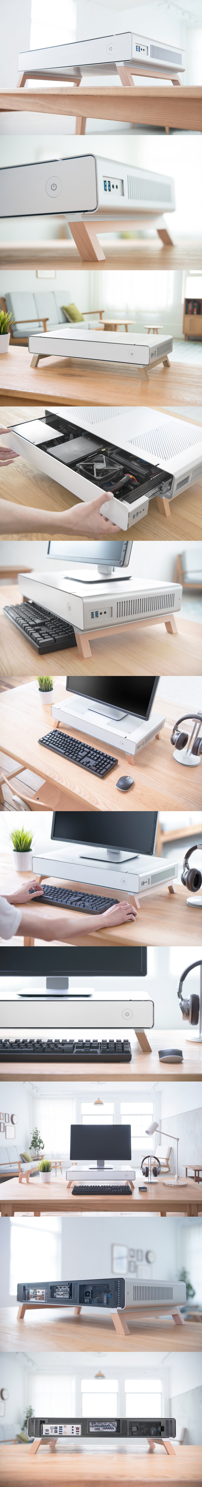 a monitor stand pc case capable of housing a full itxpc designed