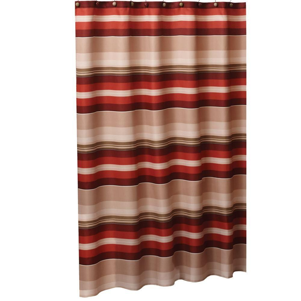 Saturday Knight Madison Stripe 72 In W X L Fabric Shower Curtain Red