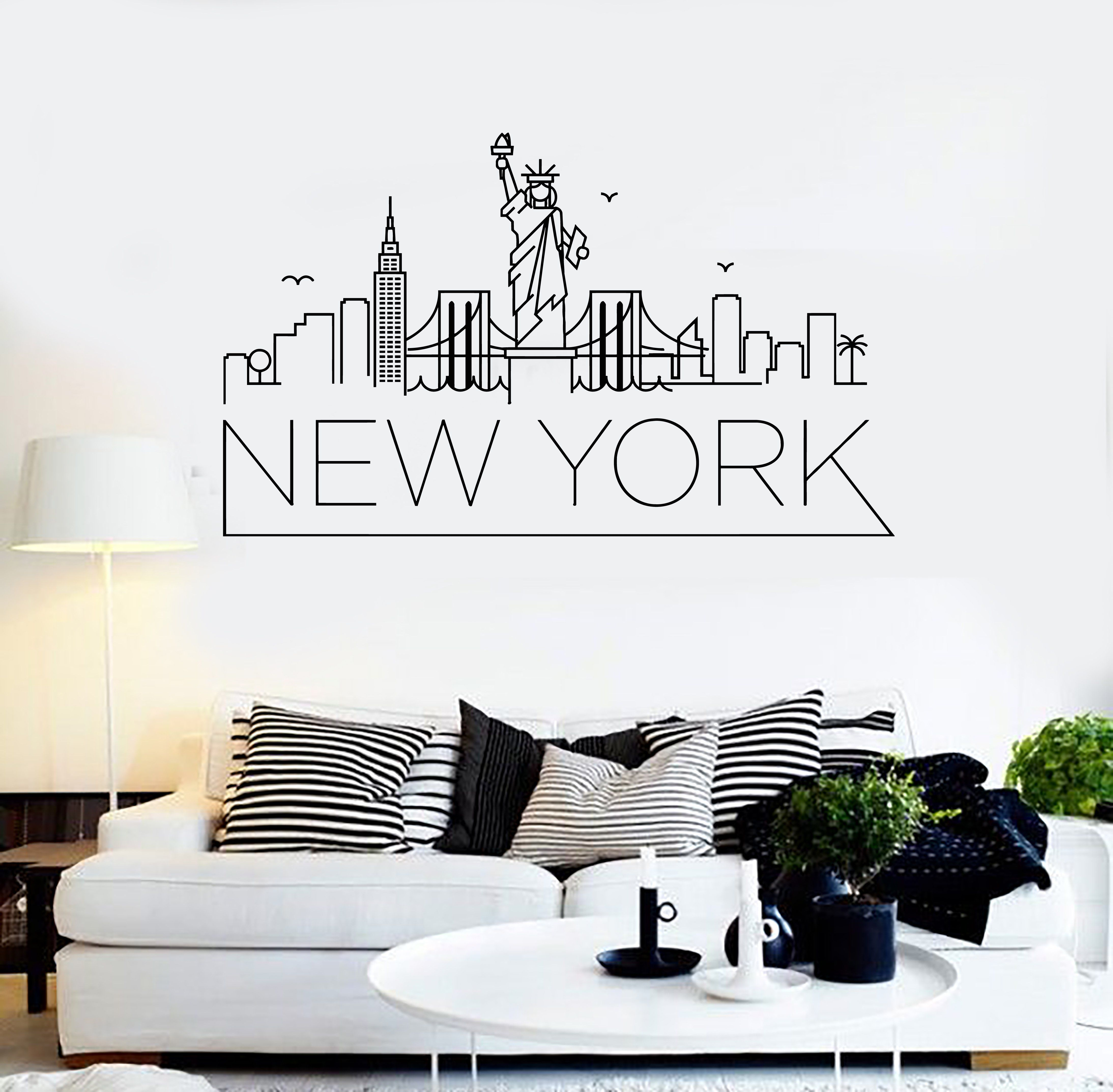 Sympathisch New York Wandtattoo Referenz Von City Skyline Silhouette | Apartment Goals |