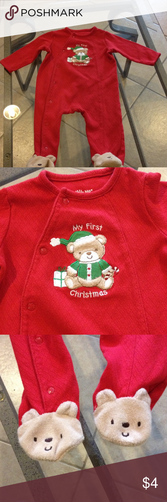 Boys 6 months Little me Christmas outfit Boys 6 months Little me Christmas outfit good condition Little Me One Pieces