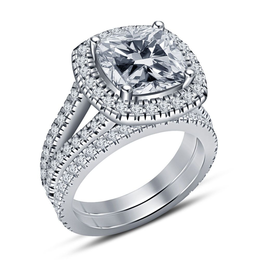 1.35 Ct Cushion Cut Fancy Diamond Engagement Ring 14K Gold Finish #Silvergemsjewelry #SolitairewithAccents