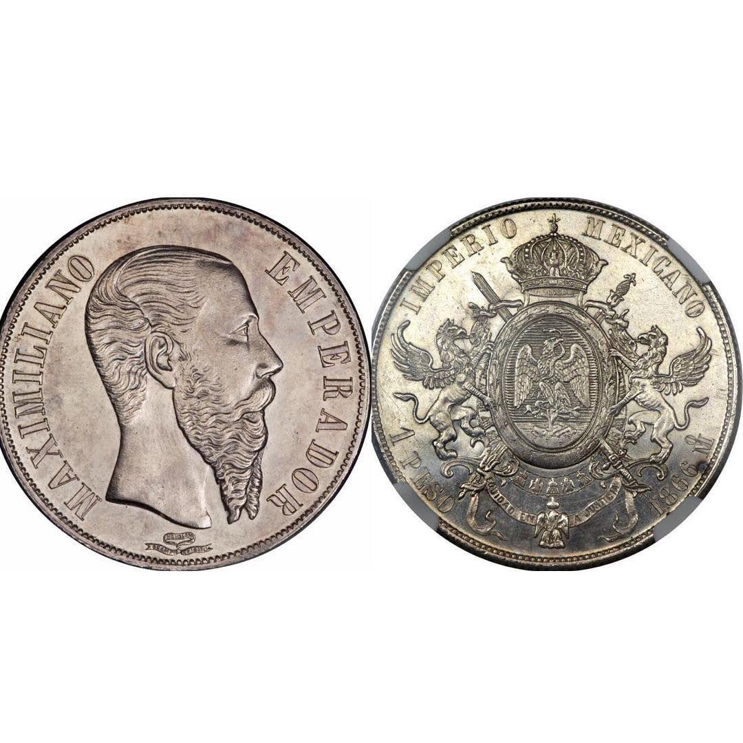 El reconocido peso del Emperador Maximiliano en plata.  Una de las monedas más hermosas que ha tenido México en la historia.