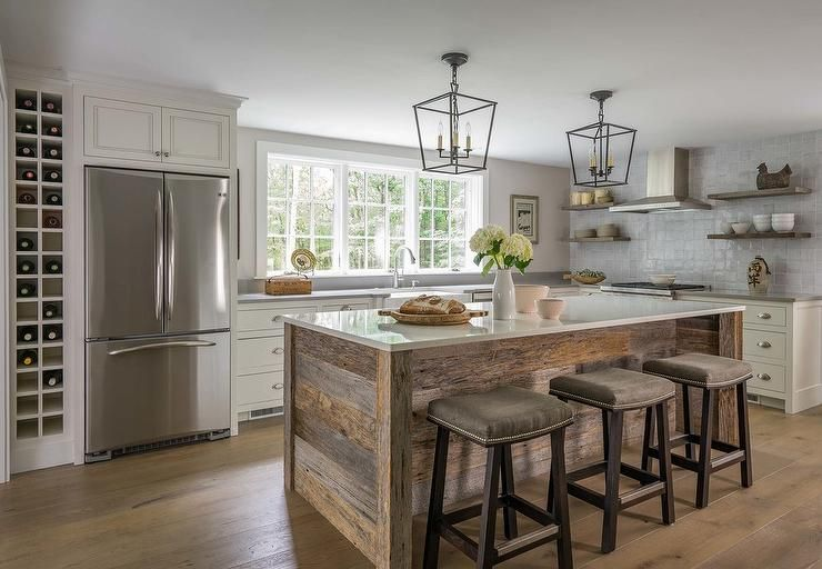 White and gray kitchen accented with rustic wood accents ...