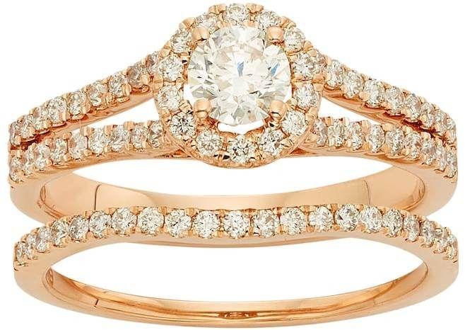 Kohls IGL Certified Diamond Halo Engagement Ring Set in 14k Rose