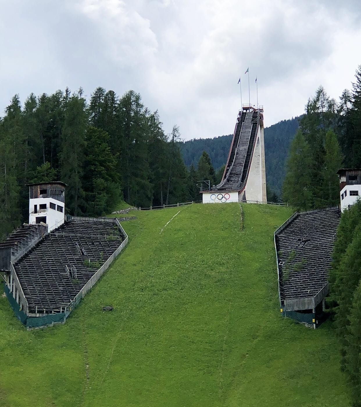 An abandoned ski jump from the 1956 Winter Olympics held
