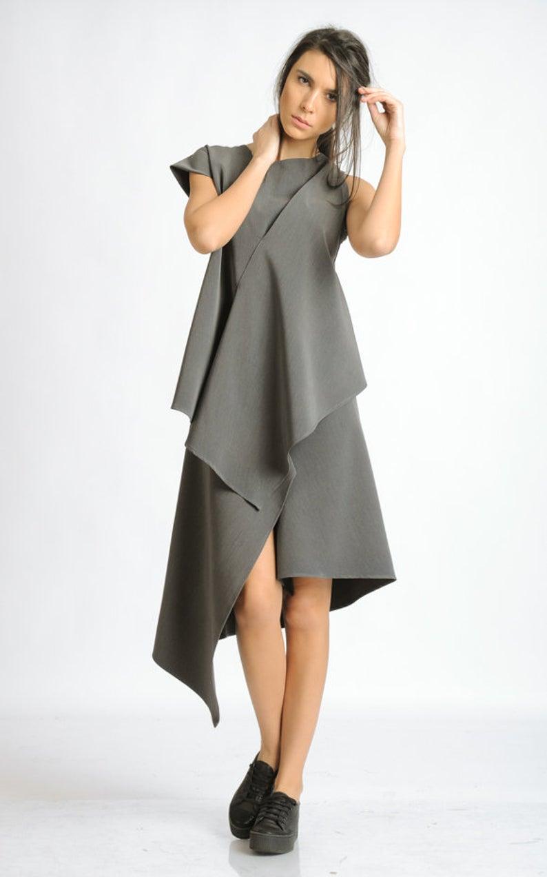 Grey Dress With One Sleeve Asymmetric Tunic Dress Loose Casual Dress Oversize Asymmetric Top Extravagant Grey Summer Dress Metd0119 Casual Dress Outfits Tunic Dresses Outfit Gray Summer Dress [ 1272 x 794 Pixel ]