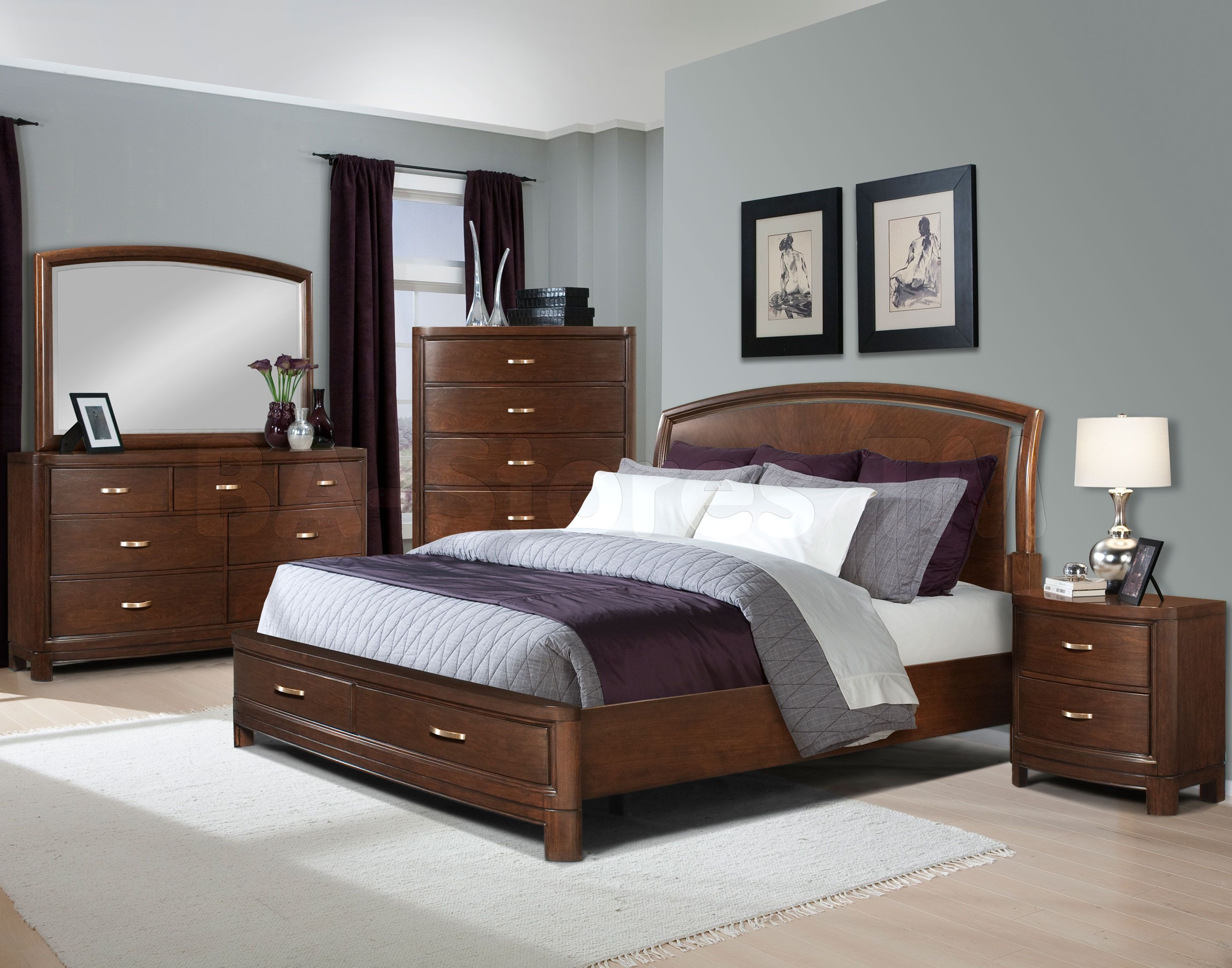 Contemporary Bedroom With Dark Wood Bed Google Search
