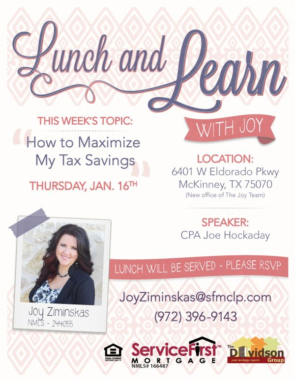 Marketing flyer for mortgage company lunch and learn on for Free mortgage flyer templates