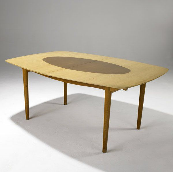 Finn Juhl; Teak and Birch Dining Table, 1950s.