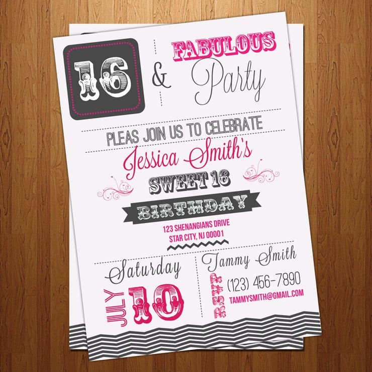 Sweet 16 - 30th 40th 50th - sixteenth Birthday party invitation ...