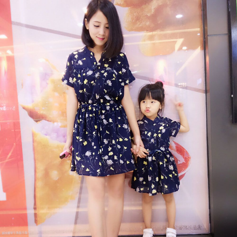 3be19c3227c Summer Korean mother and Family fitted Mother Daughter Dress Family look Mom  And Daughter dresses floral