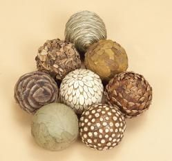 This set of 8 neutral colored orbs has tons of texture.  They will dress up any bowl you display them in.  Perfect for a kitchen, bathroom, living room or home office.