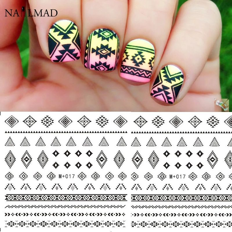 d7e756182 Ombre nails using sponging to create background color with black tribal  style water slide decals Easy DIY nail art