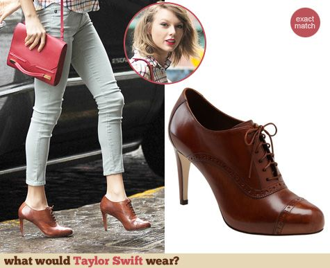 b7a0ad4a2199f Taylor Swift s brown lace up ankle boots. Outfit Details  http   wwtaylorw