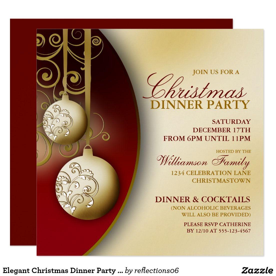 Elegant Christmas Dinner Party Invitation Dinner party