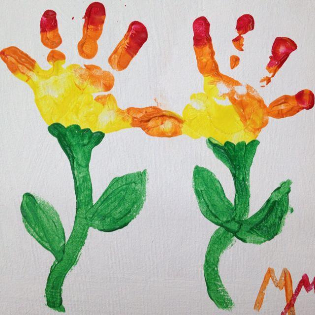 Handprint flowers   kid stuff   Crafts for kids, Fun ...
