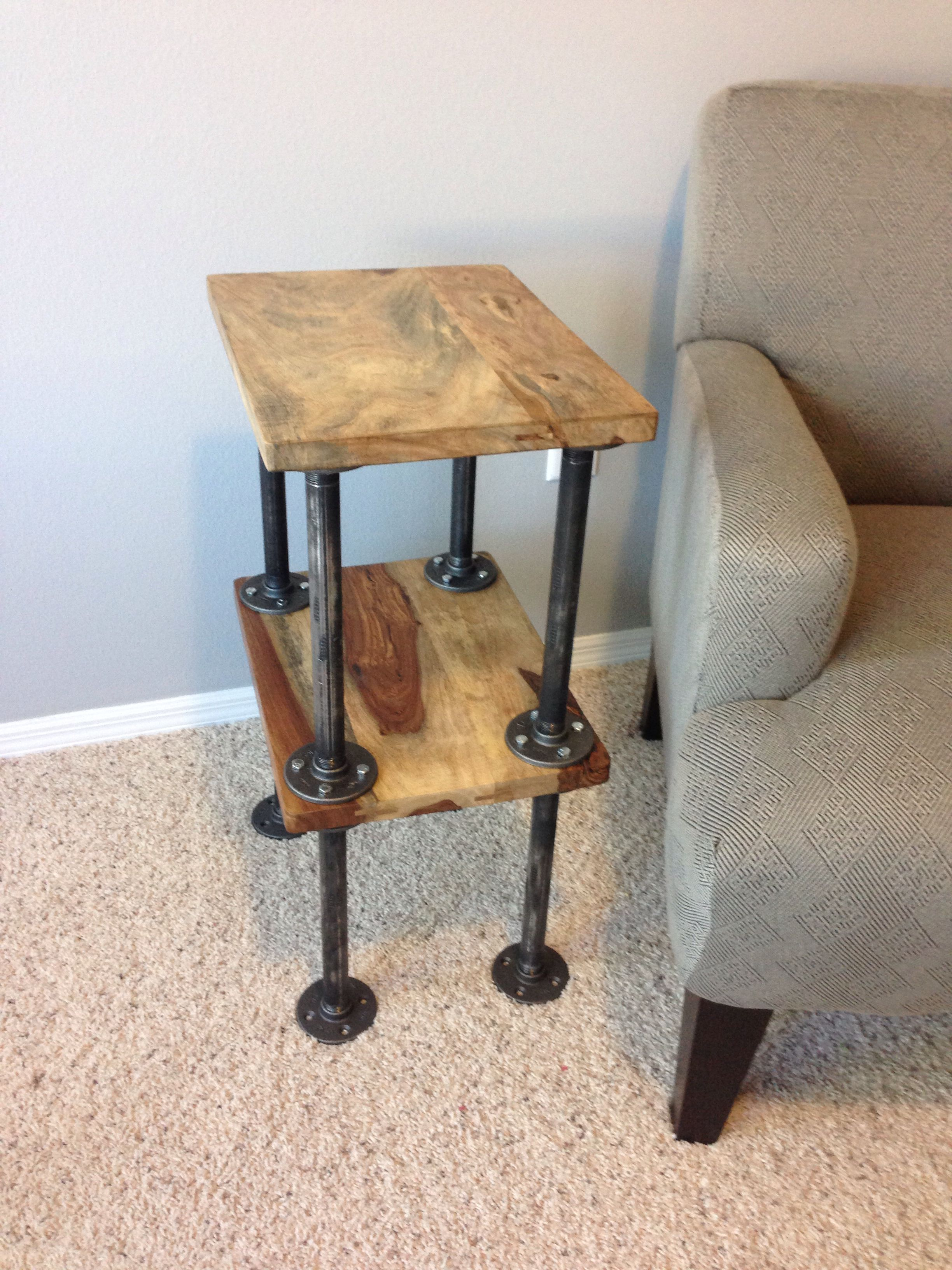 Coffee Table Used 2 Chopping Blocks From Bed Bath Beyond 10 Black 3 4 Pipe Cut Into 12 Length And Threaded By Home Depot 16 Floor Mounts