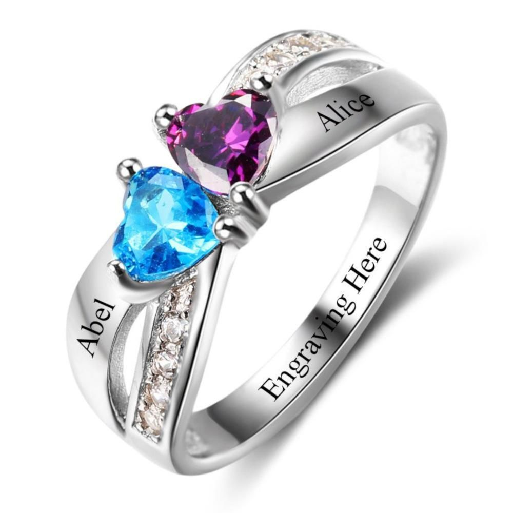 100578a881369 Personalized Double Heart Birthstone Criss Cross Promise Ring in ...