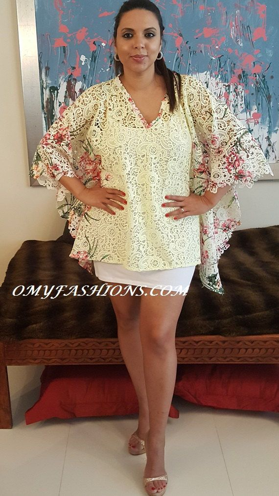 b7255fe31811b Wedding Vintage Handmade Print Lace Beach Short Kaftan Resort Cruise  Oversize…