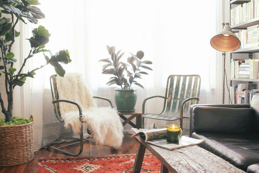 waiting for saturday : editor rachael wang's brooklyn apartment vintage chairs, leather couch, bay window