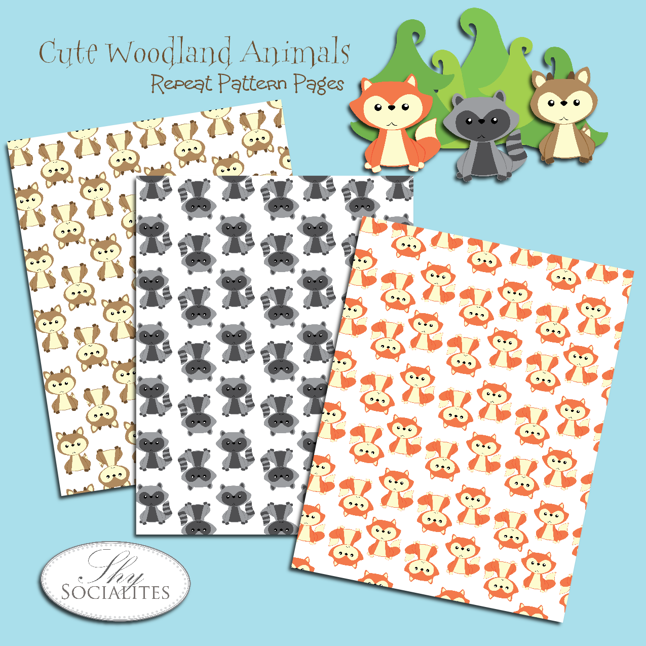 Free Cute Woodland Animal Printable Pages With A Fox Raccoon And Deer