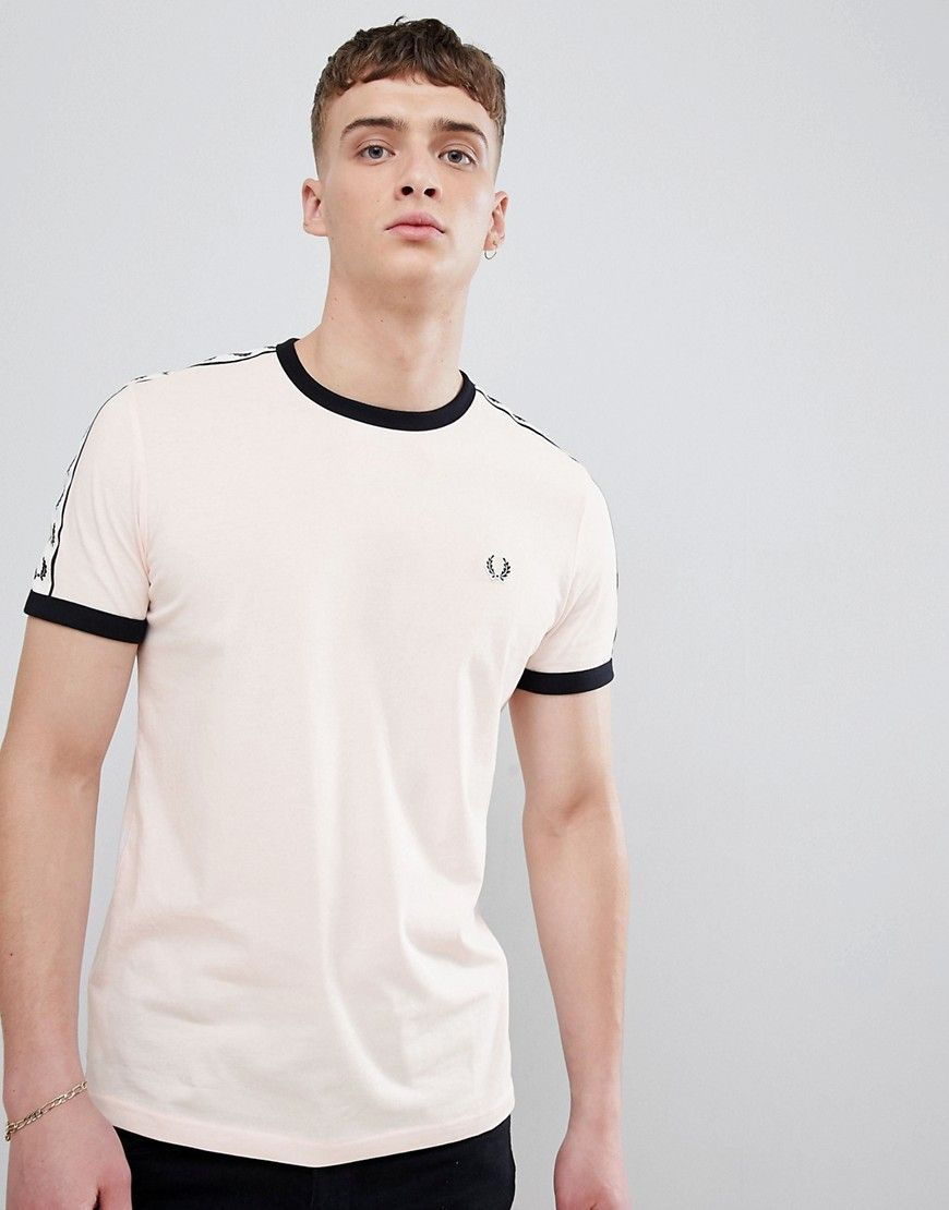 62ac2f494 FRED PERRY SPORTS AUTHENTIC TAPED T-SHIRT IN PINK - PINK.  fredperry  cloth