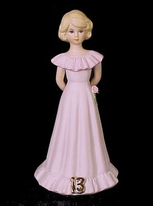 1981 Enesco Growing Up Birthday Girl Age 13 Figurine Blonde. Lovely gift for your special 13 ...
