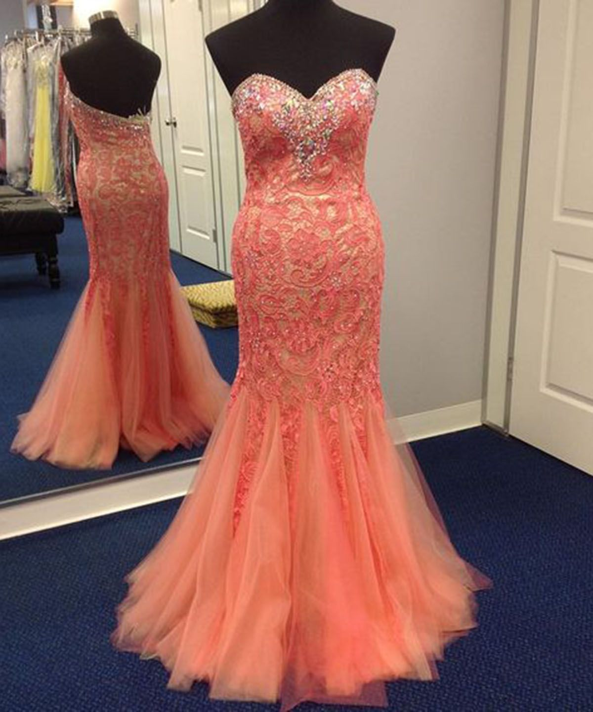 Sweetheart orange tulle lace long strapless mermaid backless evening