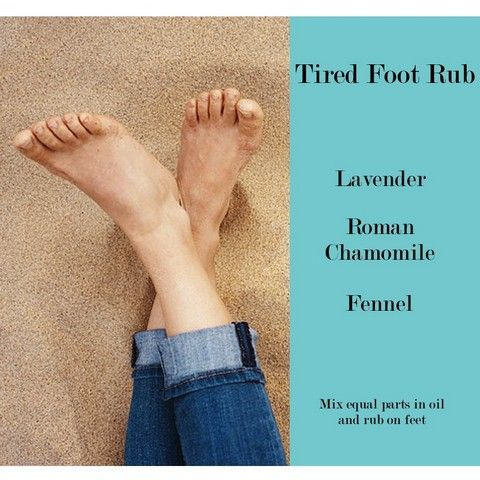 Tired feet? For tired or sore feet mix two drops of lavender, roman chamomile and fennel each in about one teaspoon of carrier oil (such as coconut oil, jojoba or almond oil) and give yourself or your loved one a foot massage! The massage will soothe tired feet and help you sleep more soundly.   Click to see details on each of the essential oils you will need for this blend: • Lavender • Roman Chamomile • Fennel. Buy at https://www.amrita.net/aromatherapy-esssential-oil-rub-for-tired-feet