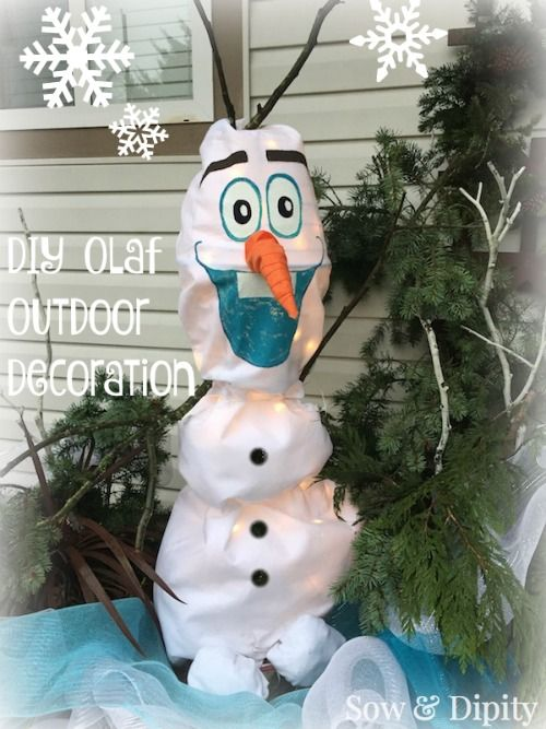 diy olaf outdoor light up christmas decoration make it in less than an hour out of garden shed items super cheap