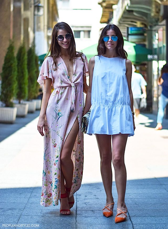 Street chic, coral v-neck #maxidress, cyan #minidress. summer women fashion @roressclothes closet ideas