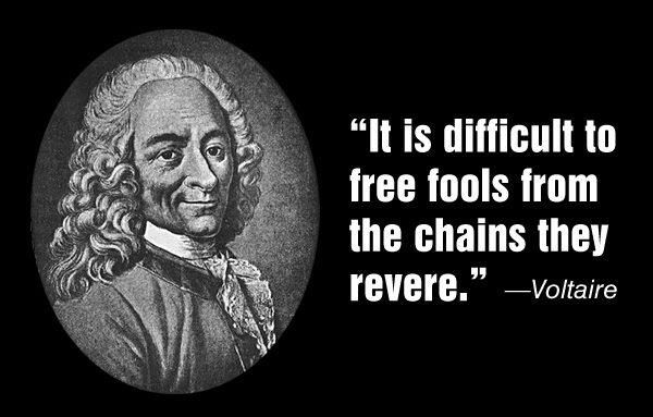 It Is Difficult To Free Fools From The Chains They Revere Voltaire Thoughts Quotes Truth And Lies Truth