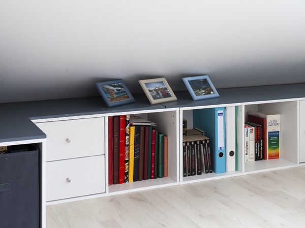rangement sous pente on optimise un max enfants et ados. Black Bedroom Furniture Sets. Home Design Ideas