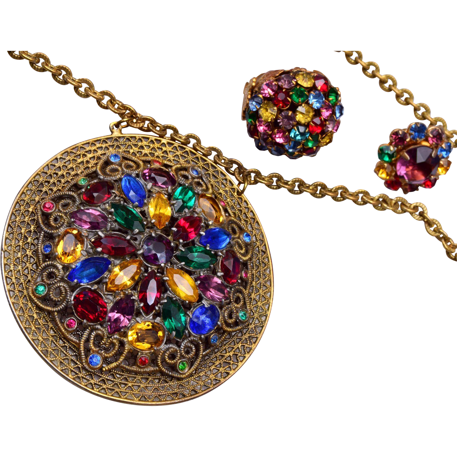 Colorful Prong Set Rhinestone Necklace, Earrings and Ring