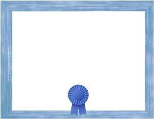 blank certificate template with a blue border and a blue. Black Bedroom Furniture Sets. Home Design Ideas