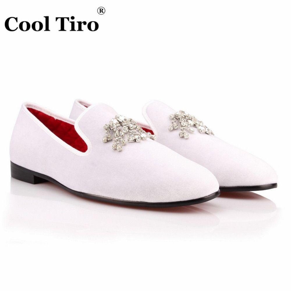 810d653898afe [ 39% Off ] COOL TIRO Handmade velvet Loafers Red Bottom Luxury Diamond  Dress men Shoes Smoking Slipper Wedding Party Slip on Flats