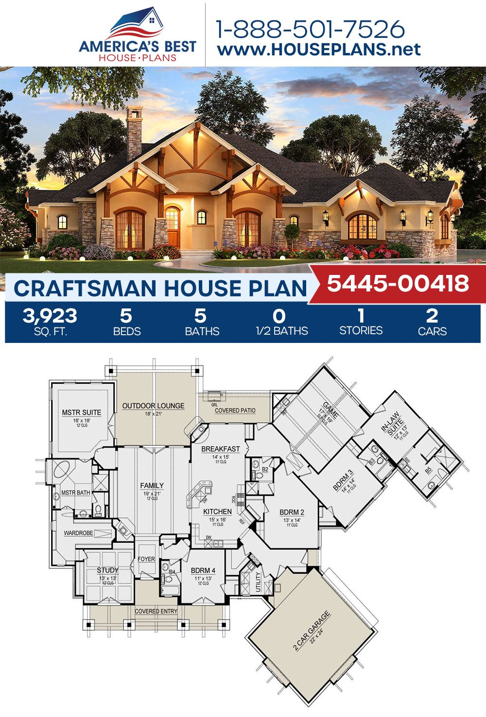 House Plan 5445 00418 Craftsman Plan 3 923 Square Feet 5 Bedrooms 5 Bathrooms In 2020 One Level House Plans Multigenerational House Plans Craftsman House Plans