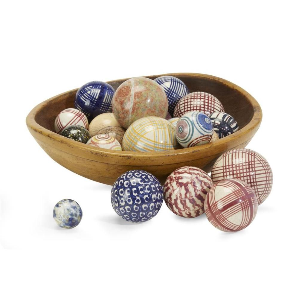 Turned Wood Bowl With Collection Of Twenty Four Glazed Staffordshire And Polished Stone Carpet Balls The Carpet Balls Scottish Or E Wood Bowls Carpet Bowls Bowl