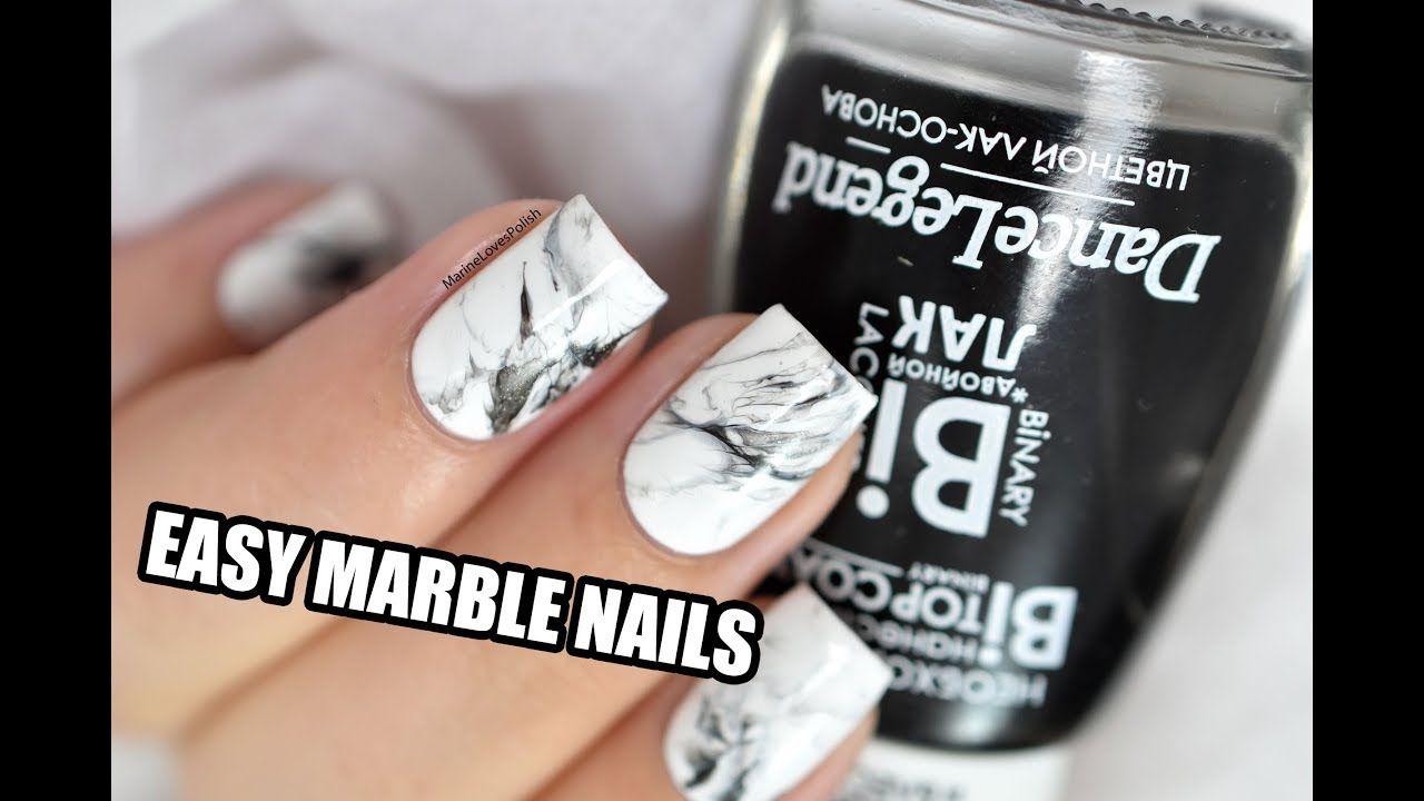 How To: Easy White Stone Marble Nail Art || Marine Loves Polish ...