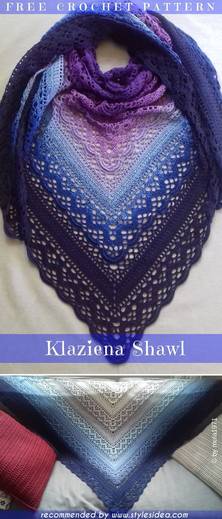 Klaziena Crochet Shawl Free Pattern Crochet → Shawl #shawlcrochetpattern