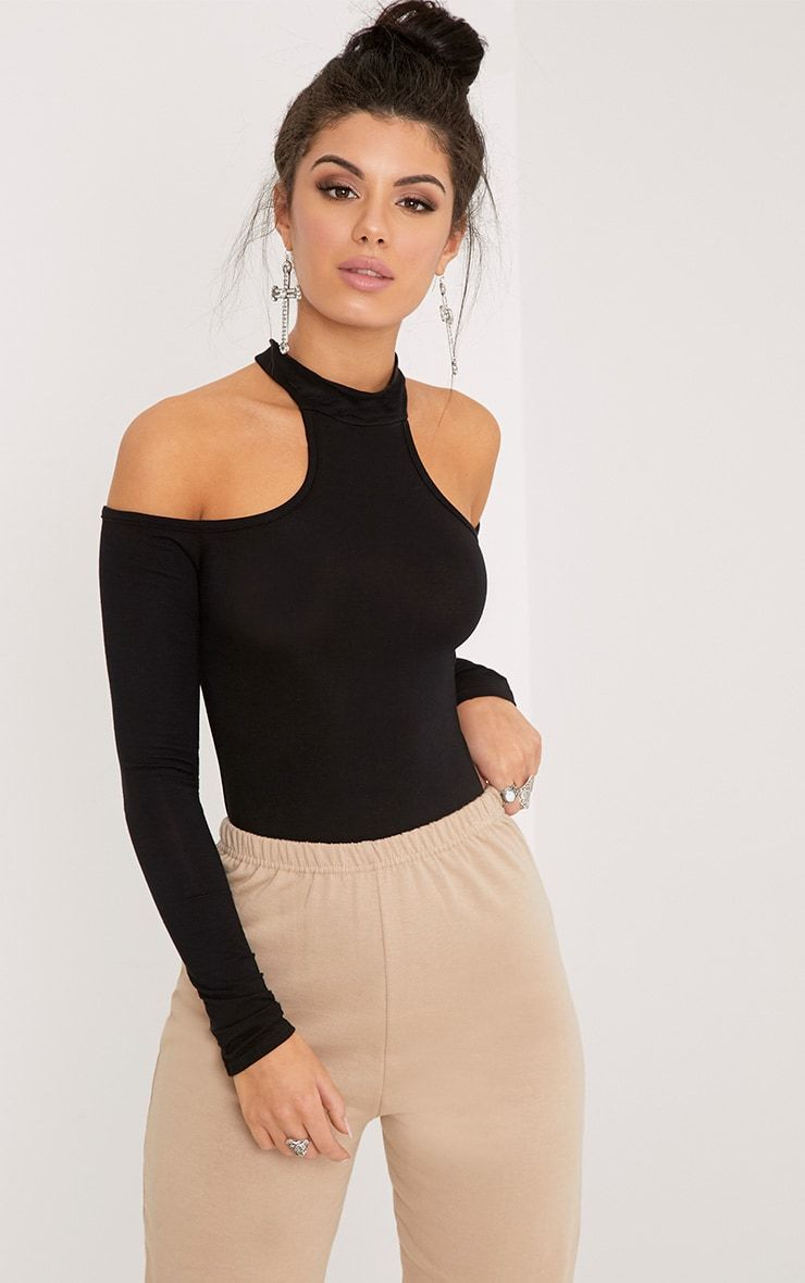 Hazel Black Cut Out Shoulder Bodysuit Pretty Little Thing Lowest Price Cheap Online Shopping Online Cheap 100% Authentic Buy Online Cheap Sale Find Great PNdEf