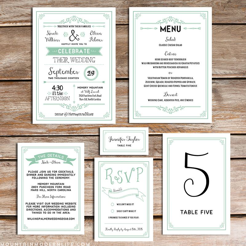 Printable Rustic Mint Wedding Invitation Set
