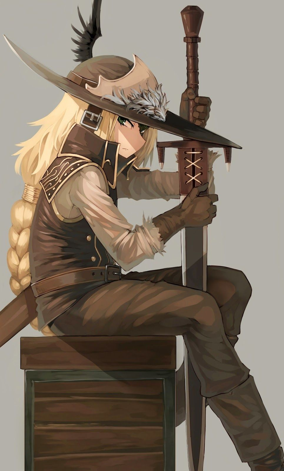 Black leather gloves dark souls - Armor Belt Blonde Hair Boots Box Braid Brown Gloves Dark Souls Dark Souls Ii Feathers Gloves Green Eyes Harau Hat Highres Holding Holding Weapon Long Hair