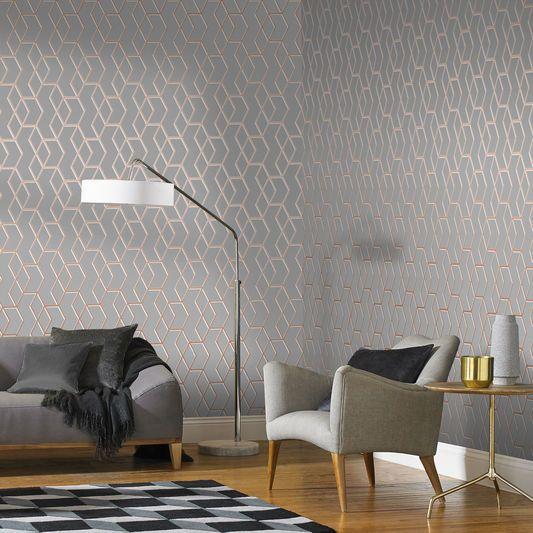 Archetype Grey Rose Gold Wallpaper Graham Brown Uk Rose Gold Wallpaper White And Gold Wallpaper Gold Wallpaper