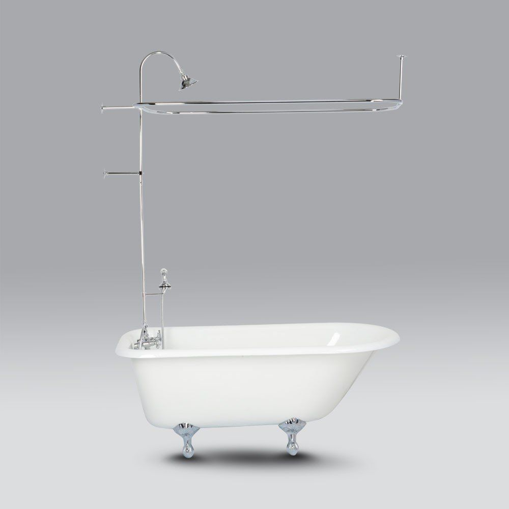 Randolph Morris Clawfoot Tub Wall Mount Shower Enclousure With Shower Ring And Handheld Shower Showers Bathroom Shower Enclosure Clawfoot Tub Shower Heads